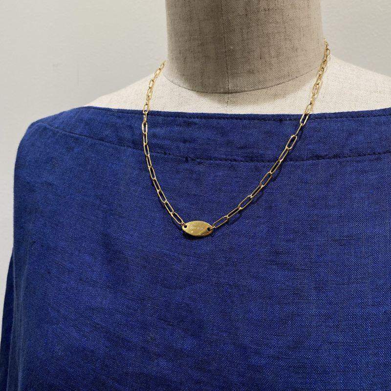 画像1: サインプレートネックレス  gold