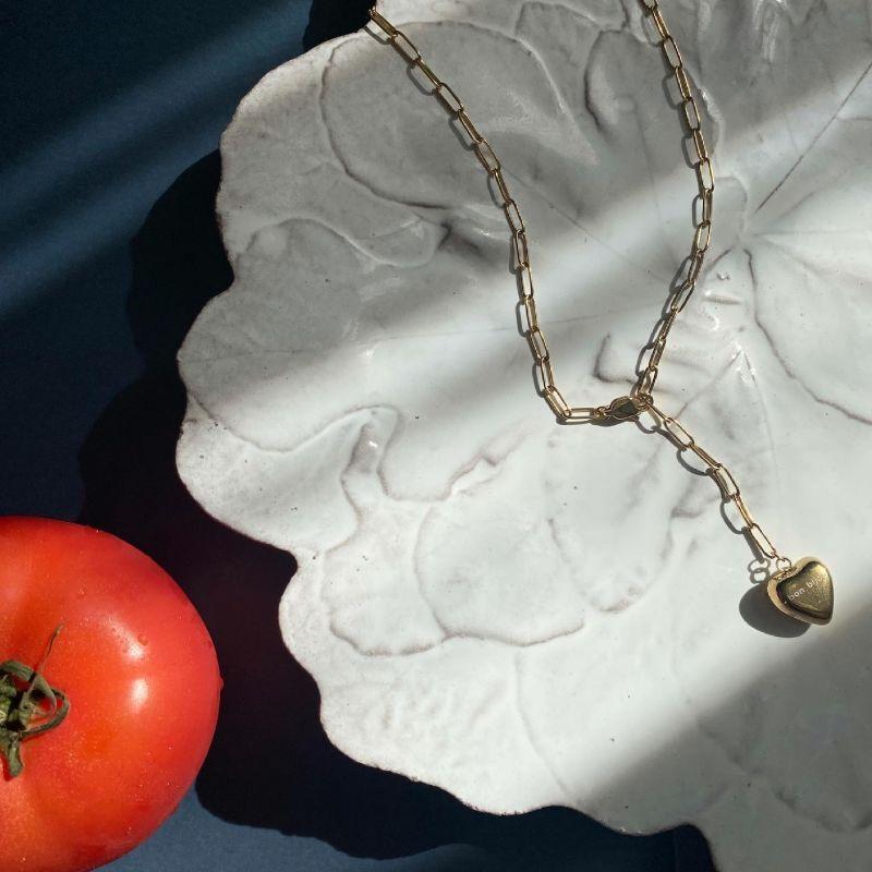 画像1: Heart top Necklace gold